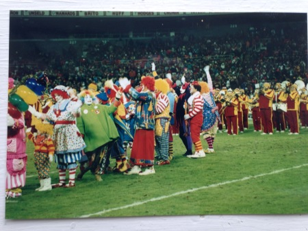Kapitol Klowns on the field during a Redskins Game at RFK Stadium. Year unknown.